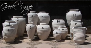 Greek range of decorative cement pots